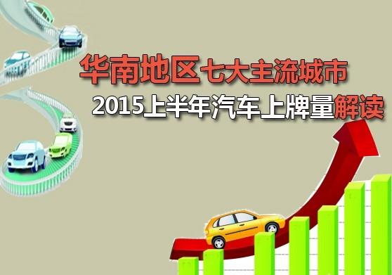 车市观察:华南地区2015上半年上牌量